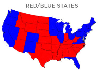 red vs. blue states of america map